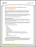 Prepare for Applying Using a Form Application