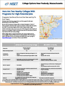 Image of the second page of the College and Career Opportunities Report with information about local college programs. (See PDF for a full description of all the data that's on the report.)